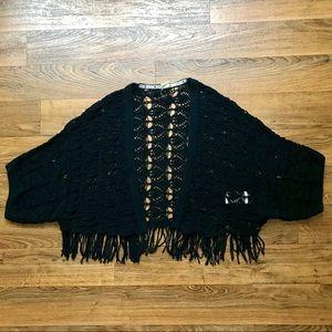 Black Fringe Shrug Open Knit Dolman Sleeves Roxy